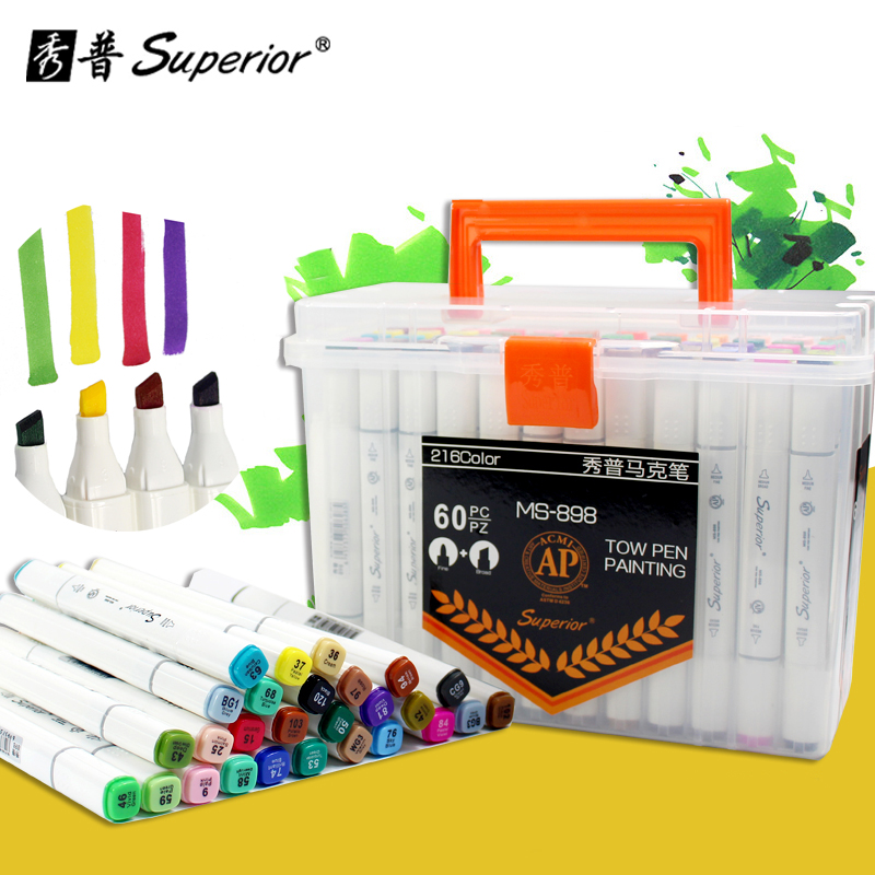 Superior 60Colors Drawing Marker Pen Design Artist Dual Head Oily Alcoholic Fineliner Markers Sketch Set Ink Liners For Drawing superior 60 80 218color dual soft head artist sketch marker alcohol based markers manga pen for artist drawing supplier