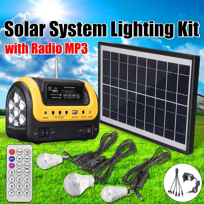 USB Charger Home System Solar Power Panel Generator Kit with MP3 Radio 3 LED Bulbs Light Emergency Indoor Outdoor LightingUSB Charger Home System Solar Power Panel Generator Kit with MP3 Radio 3 LED Bulbs Light Emergency Indoor Outdoor Lighting