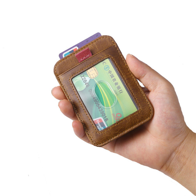 d2de74bc4428a6 Women Front Pocket Wallet Minimalist Wallets Genuine Leather Slim RFID  Blocking Card Wallet Men's Card Holder Drop Shipping