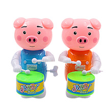 1 pcs funny cute pig watch wind toys for children clockwork drums on the chain cartoon swine toy baby gift