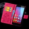 Кожаный Бумажник Флип Для Huawei Honor 4А 5X Case Ретро Цветок печать Задняя Крышка С Карты Слоты Стенд Держатель Случаи Телефона Оболочки
