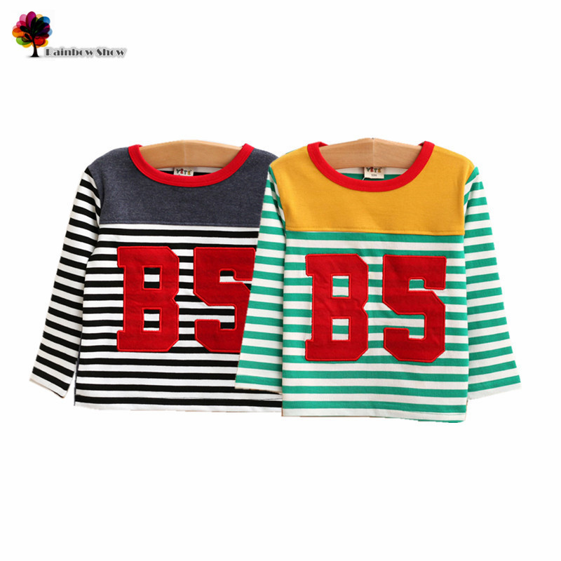 T-Shirt Clothing Spring Autumn Boys Striped Casual Cotton Children New And College-Style