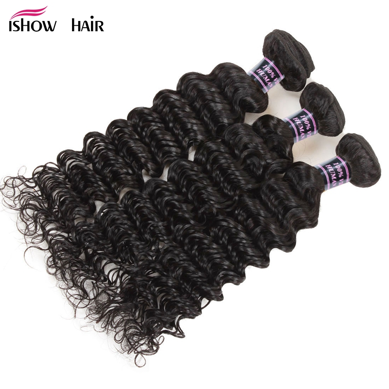 Ishow Hair Peruvian Deep Wave Human Hair Weave Bundles Non Remy Hair Extensions Natural Color Can Be dyed 3 Bundle Deals Hair