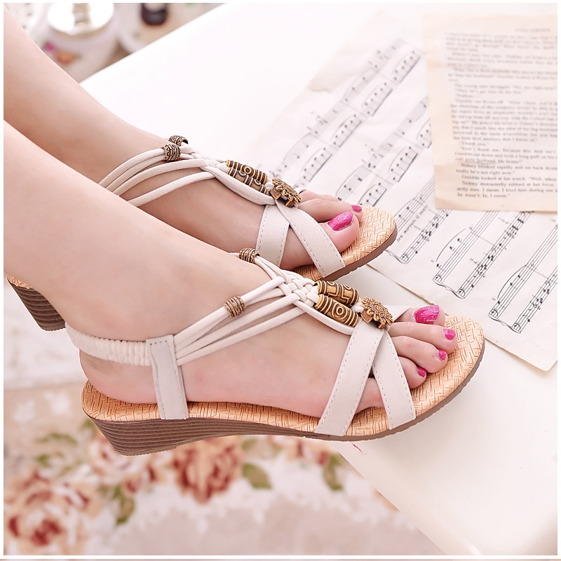 4d3d62e33eb244 HAJINK Women Sandals Wedge Shoes Woman Gladiator Summer Sandals Ankle-strap  Gladiator Sandals Ladies Shoes Black