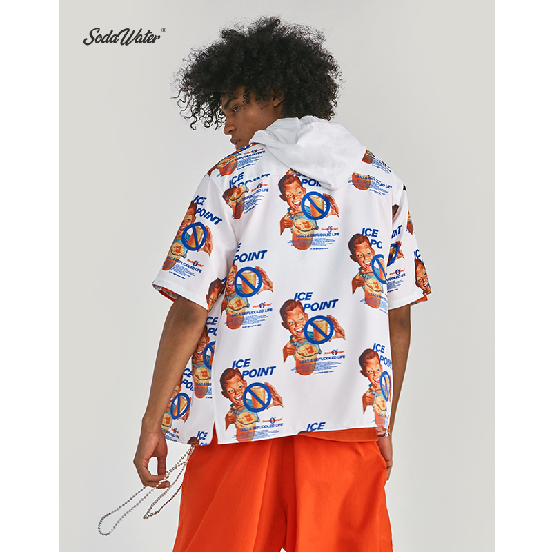 Image 4 - SODA WATER x Double Concept 2019 Summer Hip Hop Funny Graphic Printed Men Shirt Streetwear Short Sleeve Hawaiian Shirt ZJ9261S-in Casual Shirts from Men's Clothing