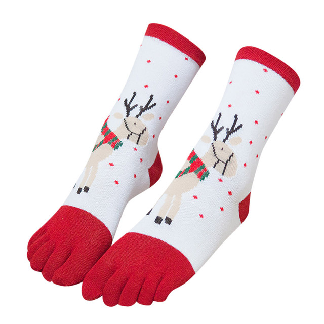 Navidad Unisex imprimir Multicolor dedo del pie calcetines cinco ...