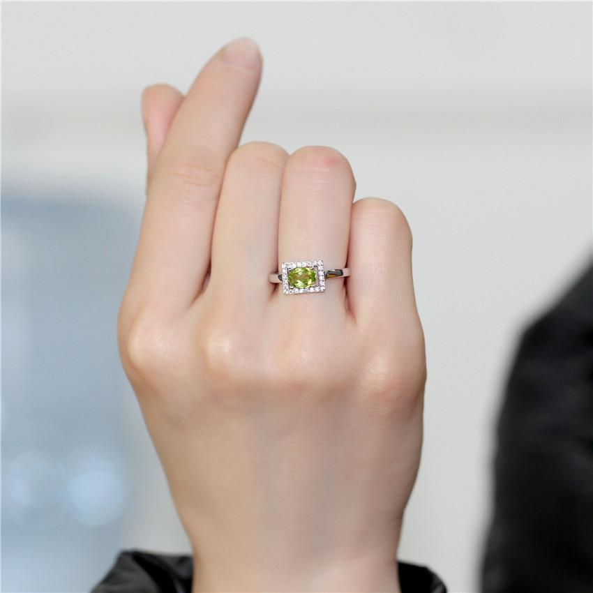 Almei Special Shine Full Peridot 925 Sterling Silver Wedding Rings