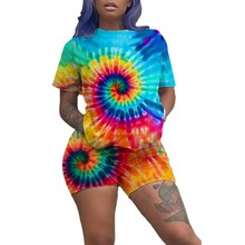 цена на 2019 Summer Casual Print Shorts Two Piece Set High Street Tie Dye T Shirt And Shorts Set Festival Tracksuit Women Matching Sets