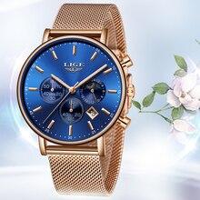LIGE Women Fashion Gold Blue Quartz Watch Lady Mesh Watchband High Quality Casual Waterproof Wristwatch Moon Phase Clock Women