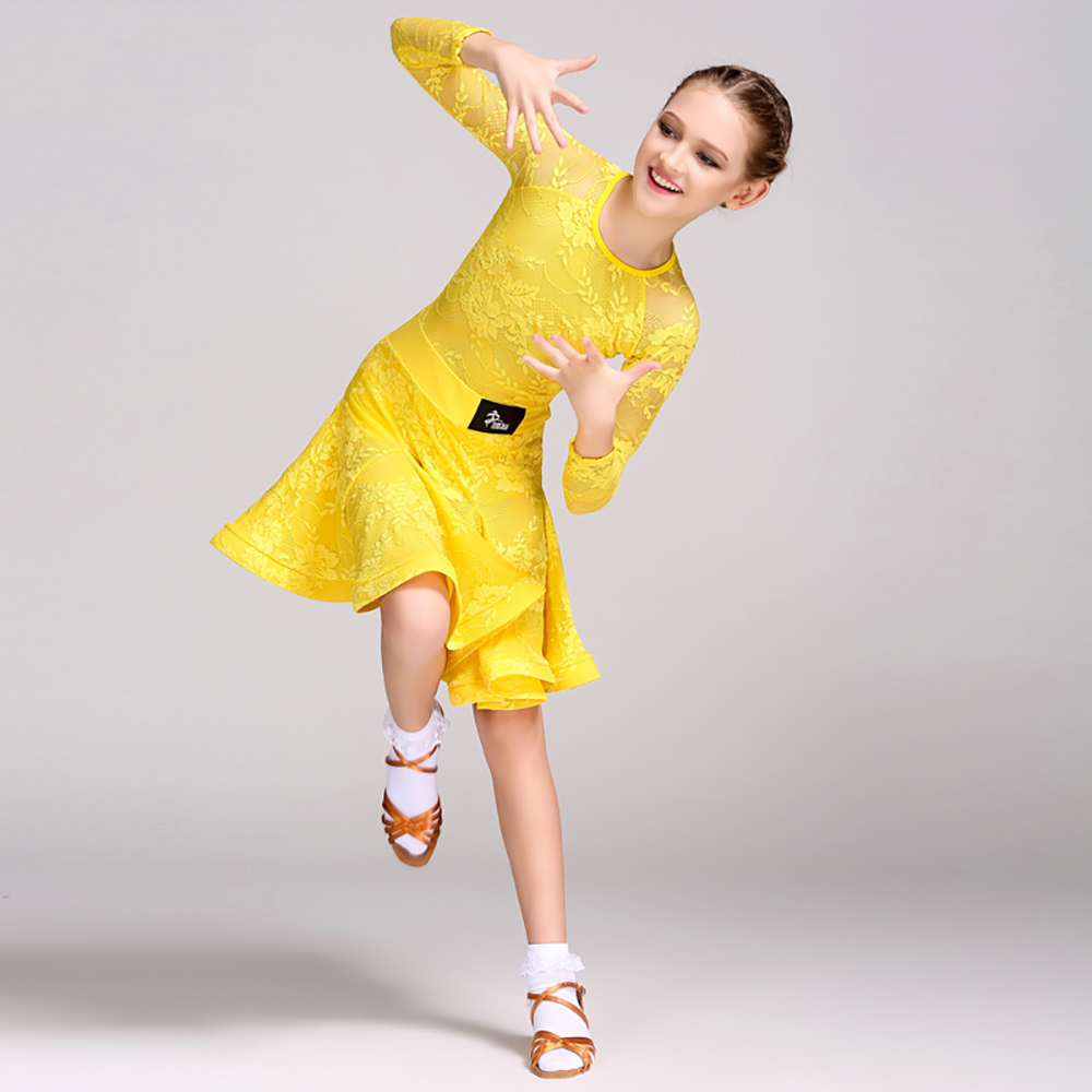 Standard Latin Dance Dress For Yellow Blue Green Skirts Summer Profession Child Kids Competition Beauty Ballroom Garments Y10481