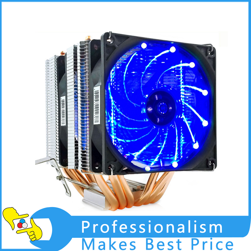 все цены на Dual LED CPU Cooler 6 Heat Pipe CPU Radiator Cooler Fan Heat Sinks Pipes Heat Exchanger with Fan CPU Ventilador Enfriador онлайн