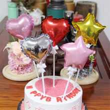 1pc 5 inch Butterfly Balloon Pole Aluminum Foil Balloons Romantic Heart Star Shape Wedding Birthday Party Decor Cake Decorations