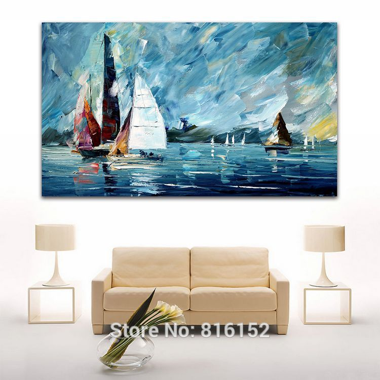 Hand Painted Sail Boat Blue Sea Abstract Oil Painting Canvas ...