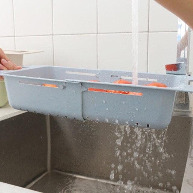 Panier de vidange pour légumes fruits | Réglage rétractable en Silicone, évier lavage légumes panier de vidange, passoire passoire étagère sèche, outil de nettoyage de la cuisine