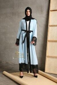 Muçulmano costura rendas cor sólida cardigan djellaba turco roupas femininas casaco longo dubai moda de alta qualidade cardigan outwear
