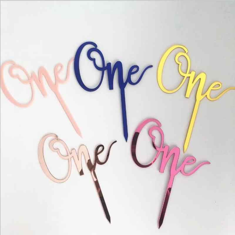 "Gold Pink Acrylic ""One"" ""Oh Baby"" Cake Topper for Party Decoration Dessert Lovely Gifts"