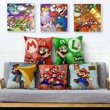 Pillow-Case Super-Mario-Cushion-Covers Linen Home-Decor Colorful Cartoon Game Classic