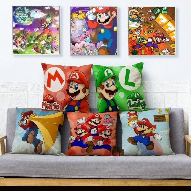 Jogo clássico Colorido Dos Desenhos Animados Super Mario Capas de Almofadas de Linho Fronha Sofá Carro Decoração de Casa Fronha Fronha 45*45 cm