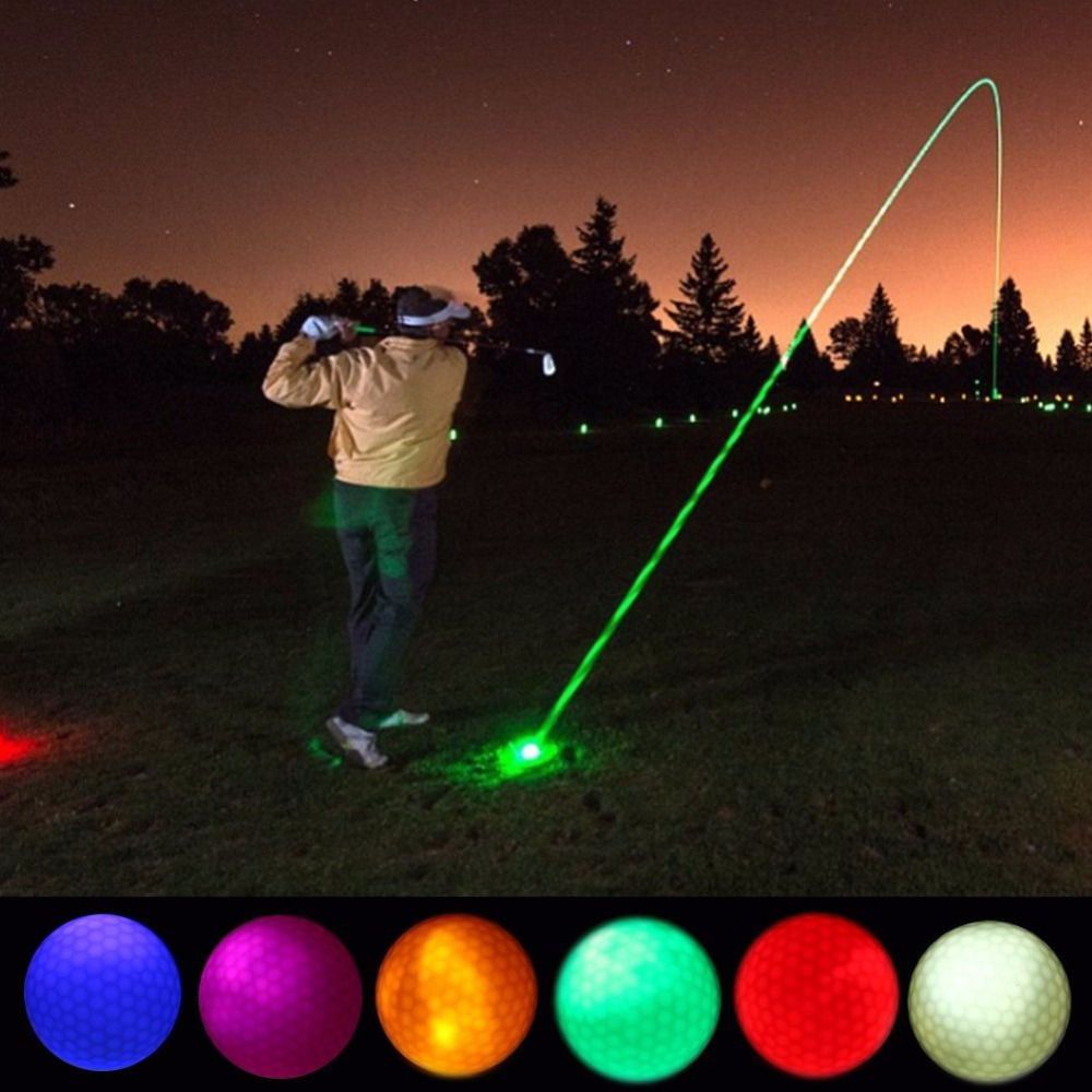 1 Piece LED Light Up Golf Balls Glow Flashing In the Dark Night Golf Balls Multi Color Training Golf Practice Balls Gifts 1