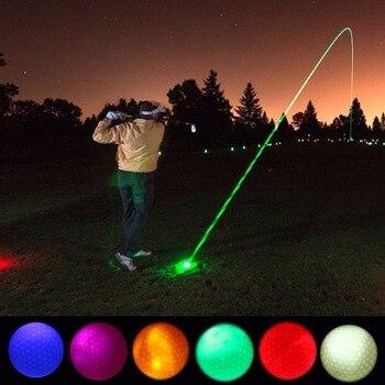 1 pieza LED luz pelotas de Golf brillo intermitente en la oscuridad pelotas de Golf de noche Multi Color formación pelotas para practicar Golf, regalos