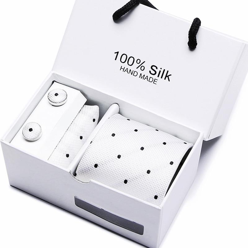 Mens 2019 High Fashion Men Black Skinny Neck Tie Set Handkercheif  Set 7.5cm Width Neckties Jacquard Corbata Gift Box Packing
