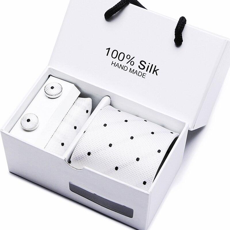 Mens 2020 High Fashion Men Black Skinny Neck Tie Set Handkercheif  Set 7.5cm Width Neckties Jacquard Corbata Gift Box Packing