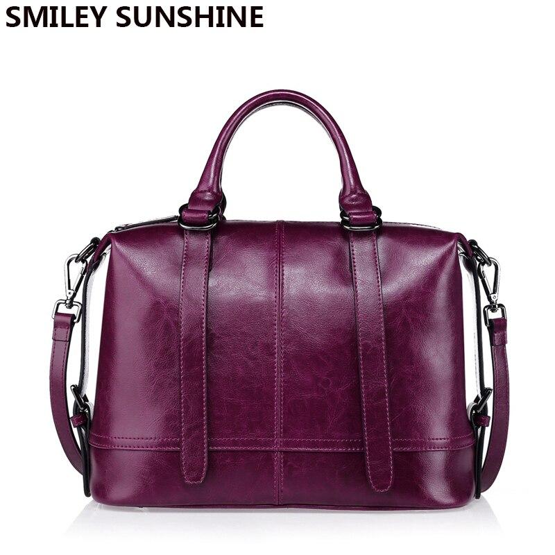 SMILEY SUNSHINE luxury handbags women bags designer genuine leather woman bag 2018 saffiano ladies handbag purple