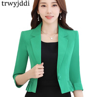 Plus Size Ruffled Suit Jacket New Spring Summer Fashion Single Buckle Slim Professional Ladies Women Blazer Short Workwear hl467
