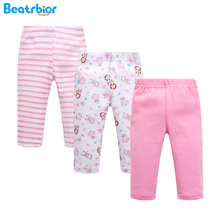 2017 New Arrival Spring Baby Pants 100% Cotton Newborn Baby Leggings Striped Print Trousers Boy Girl Baby Clothing 3 Pieces