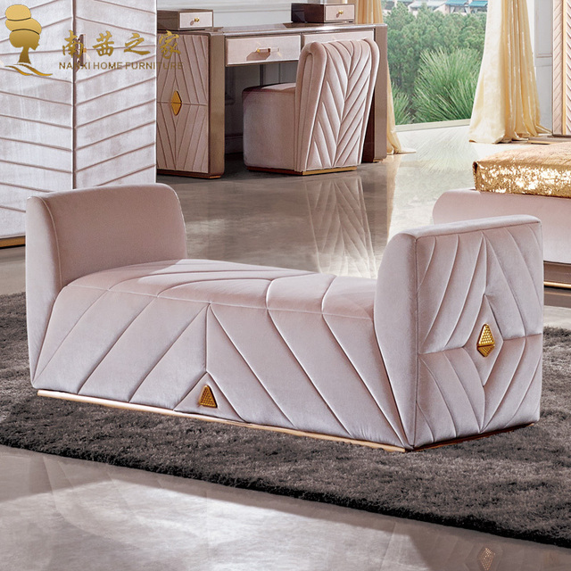 modern bedroom furniture bed end chair ottoman fabric sofa chaise ...