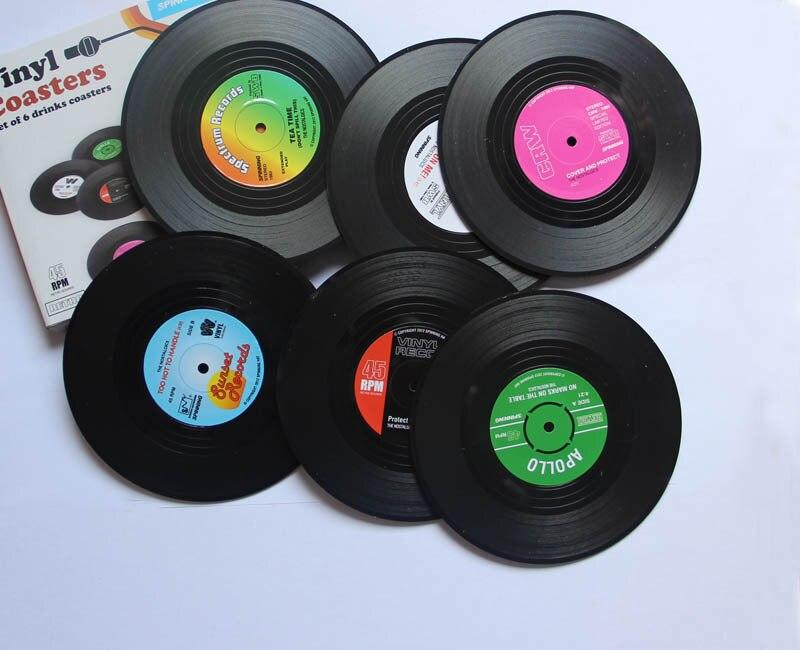 6 Pz/set Casa Tabella Stuoia Della Tazza Creativa Decor Coffee Drink Tovaglietta Spinning Retro Vinyl CD Record Drinks Coasters-in Tovagliette e sottobicchieri da Casa e giardino su  Gruppo 3