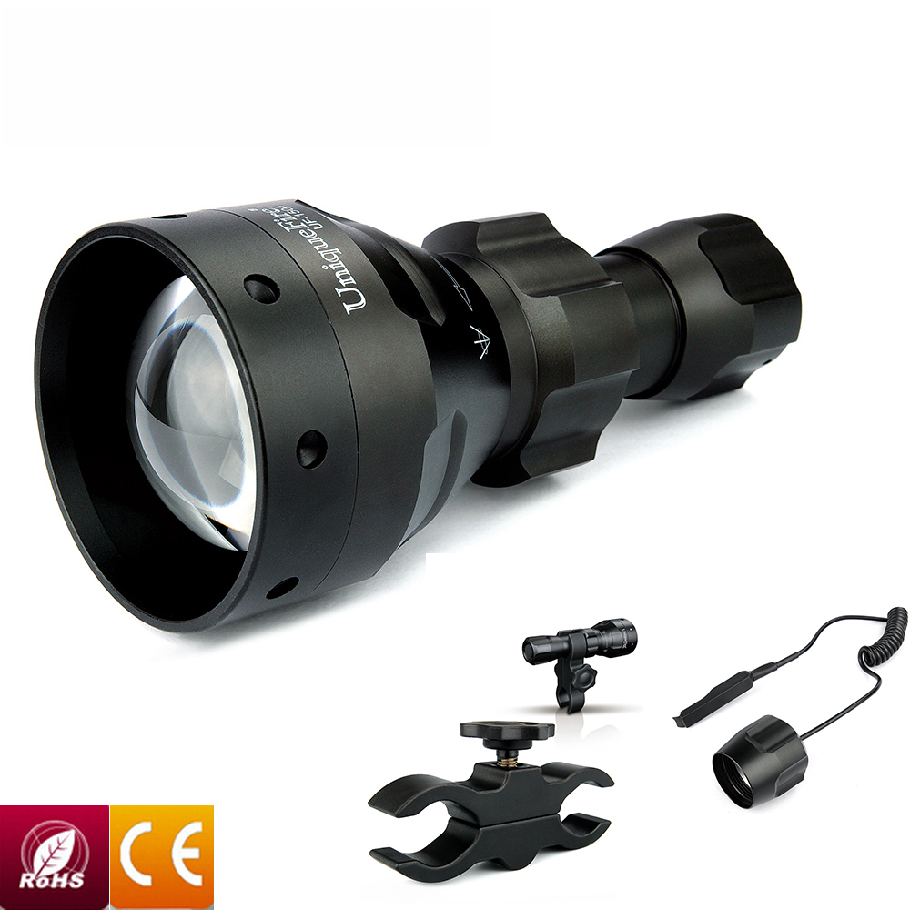 UniqueFire 1405 IR 940NM Zoomable 67mm lens Flashlight Night Vision Lamp Torch+Scope Mount+Remote Pressure For Camping & Hunting uniquefire uf 1405 940nm ir led flashlight zoomable kit set 67mm convex lens 3 modes torch charger rat tail scope mount