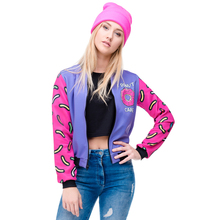 Fall Winter 3D Printed Donuts Womens Bomber Jacket Outwear f
