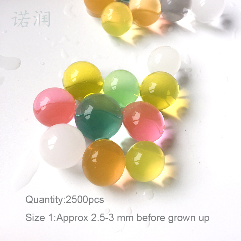 5000 Pcs 2.5-3mm 12 Colors Hydrogel Gel Kids Toy Paintball Growing Water Ball Water Beads Home Vase Decoration Crystal Soil Mud