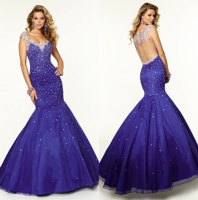 Royal Blue Largas Sirena Vestidos de Baile 2016 Envío Rápido Sweetheart Opacidad con Cuentas de Cristal Vestido de Noche vestidos de gala