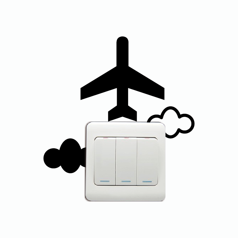 KG-255 Plane Switch Sticker Cartoon Plane Silhouette Vinyl Wall Sticker Home Decor Home Wallpaper