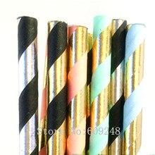 Gratis DHL 1000 stks Pick Kleuren Metallic Folie Gestreepte Papier Rietjes Bulk, Goud Roze Blauw Mint Zwarte Streep, afstuderen Holiday Party