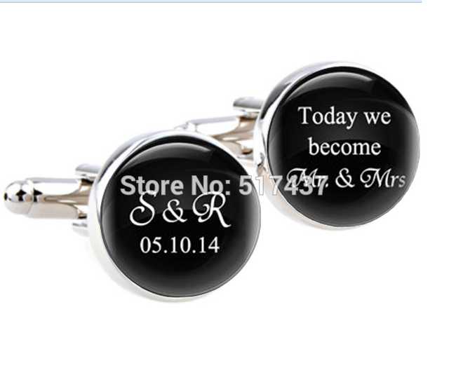 1 Pair Whole Wedding Cufflinks Today We Become Mr Mrs With Custom Date Personalised