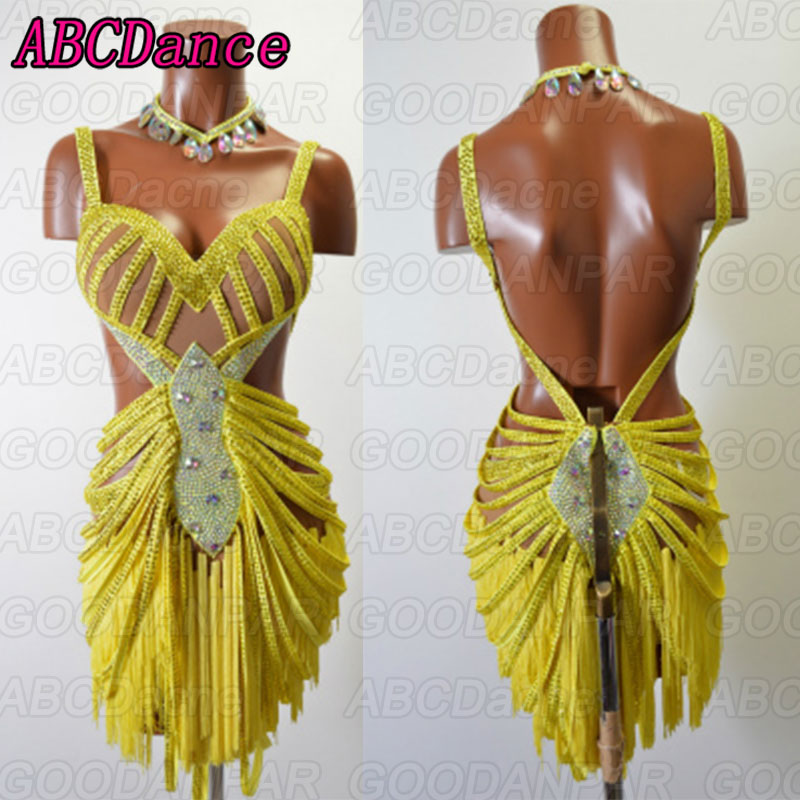 New Latin Dance Dress Women Sexy Backless Dress For Ballroom Dancing Custom Handmade Dancewear