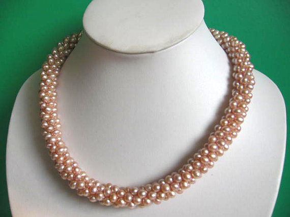 Elegant Genuine Pearl Jewellery,Fabulous Beaded Twist Mauve Pink Color Freshwater Pearl Necklace,Magnet Clasp