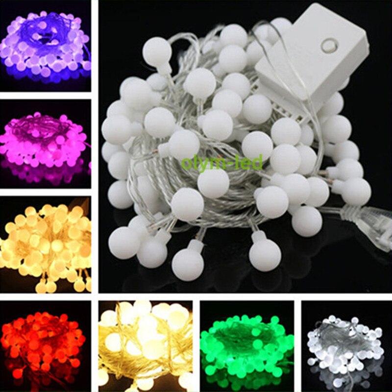 2018 LED Christmas Ball String lights Wedding Ball Light Bulb 5M 50LEDs White Lighting decoration 220V with EU Plug
