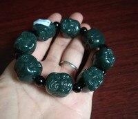 Chinois Sculpté À La Main jade Bouddha tête Perle Naturel Hetian jade Bracelet