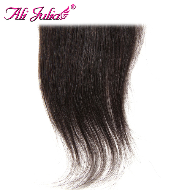 Ali Julia Hair Products Brazilian Straight Lace Closure Middle Part 120% Density Non Remy Natural Color 10-20 inches Closure