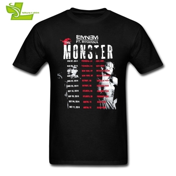 Eminem X Rihana The Monster Tour Slim Shady Adult T Shirt Cool Loose T-Shirt Men Short Sleeve Tshirt Teenboys Unique Clothes image