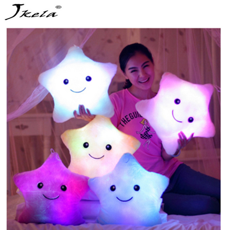 [Jkela] 35*38 cm Luminous pillow Christmas Toys, Led Light Pillow,plush Pillow, Hot Colorful Stars,kids Toys, Birthday Gift high quality colorful change bear luminous pillow soft plush pillow led light pillow kids toys