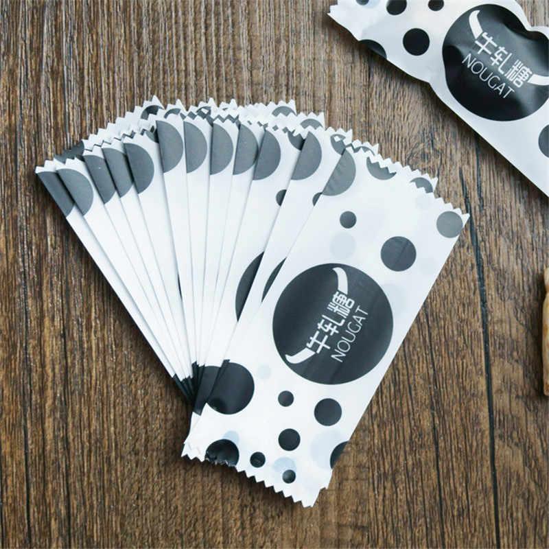 200 Pcs/Lot Black White DIY Handmade Nougat Candy Packaging Bag Milk Candy Taffy Wrapper Food Packing Mini Bag