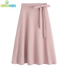 Smoves vintage мода галстук-бабочку передняя высокой талией женщины конькобежец юбки a-line колен миди лето весна расклешенные юбки новый