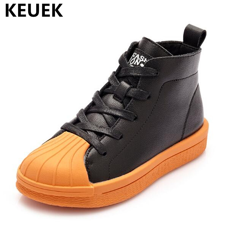 New Autumn Children Genuine Leather Girls High Top Casual Sneakers Boys Shoes Sports Flats Breathable Kids Shoes 041 aadct 2018 new spring autumn casual sports children shoes breathable leather shoes for girls boys soft sneakers kids shoes