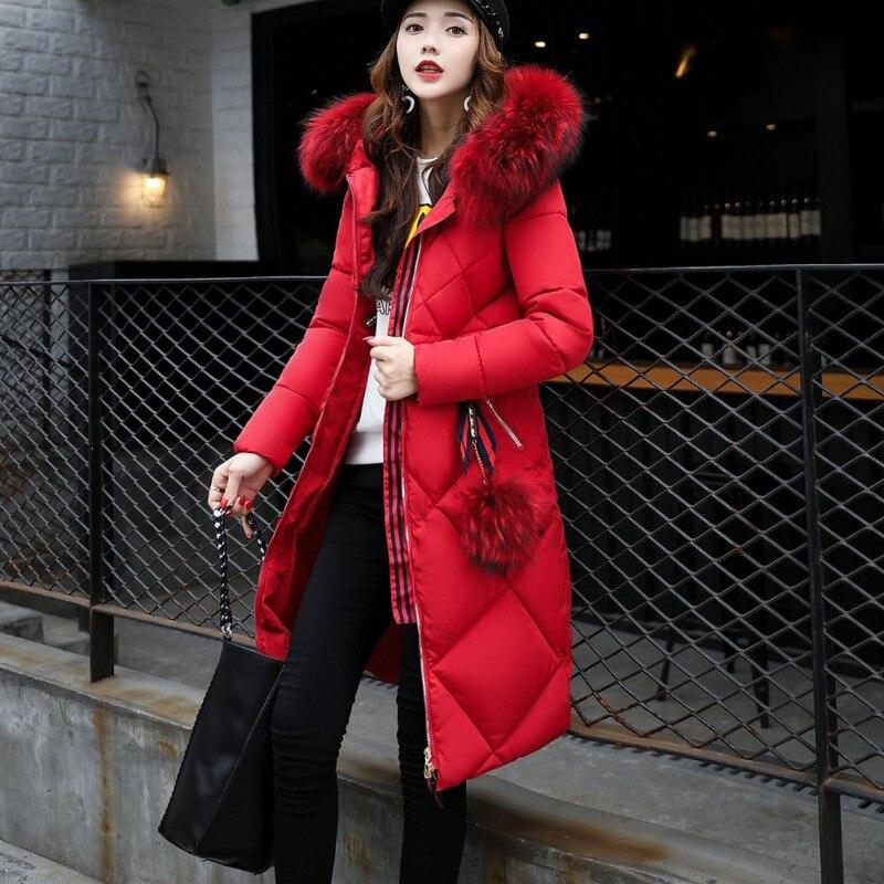 D'hiver Noir rouge Parka vert Chic Coton Capuchon Col Vers Le rose Élégant Casual Femmes De Manteaux Zipper Fourrure À Mode Long Style Bas Manteau Lady Chaud qBw4x6q