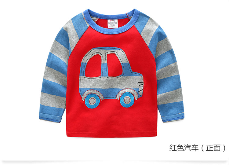 2018 Spring Autumn For 2-9 10 Years Children Cotton Striped Patchwork Cartoon Car Bus Truck Baby Kids Boys Long Sleeve T Shirts (29)